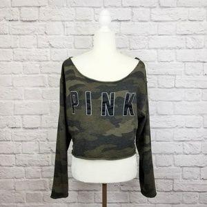 Pink green camouflage cutoff cropped sweatshirt